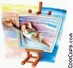 man flying out of an artists canvas Fine Art picture