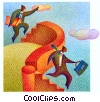businessmen jumping over a wall Fine Art illustration