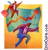 businessmen running with successful results Fine Art illustration