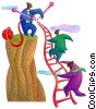 businessmen climbing a ladder/teamwork Stock Art picture