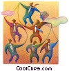 Stock Art graphic  of a businessman puppeteer
