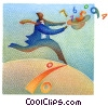 Fine Art graphic  of a businessman running with the