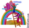 Stock Art graphic  of a women climbing a ladder
