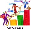 people climbing a ladder to success Stock Art image