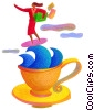 Fine Art graphic  of a woman surfing with a coffee