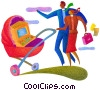 Stock Art picture  of a computer in a baby carriage