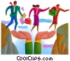 teamwork crossing a bridge made of hands Stock Art graphic