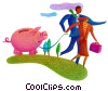 man and woman with a piggybank on a leash Fine Art picture