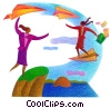 Fine Art graphic  of a woman riding paper airplanes