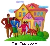 Stock Art image  of a family with their home