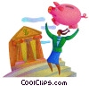 Fine Art graphic  of a piggy bank or savings concept