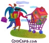 Stock Art graphic  of a family shopping for a home