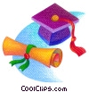 graduate's cap with diploma Stock Art picture
