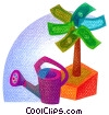 money tree with watering can Stock Art picture