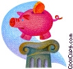 Stock Art image  of a piggy bank on a pedestal