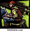 forestry worker with a notebook computer Stock Art graphic