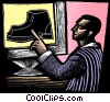 man pointing at a shoe on a computer screen Fine Art picture