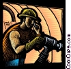 miner with a drill and cellular phone Fine Art illustration