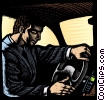 Stock Art graphic  of a man driving an automobile