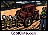 farmers with tractor at harvest Stock Art graphic