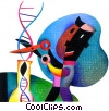 Fine Art graphic  of a scientist cutting DNA strand