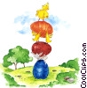 Easter Chicks with Eggs Fine Art illustration