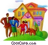 Stock Art graphic  of a family at home