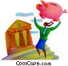 Fine Art graphic  of a woman cashing in her piggy