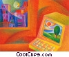 Computer Desktop Systems Fine Art illustration