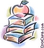 Fine Art graphic  of an apple on top of books