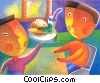 waiter serving food Fine Art illustration