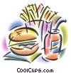 Fine Art graphic  of a hamburger with fries and soda