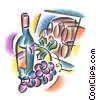 wine bottle with grapes and barrels Fine Art illustration