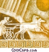 Greek chariot with horses  Fine Art image