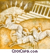 Horses with riders and Greek architecture Fine Art graphic