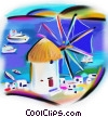 Stock Art graphic  of a Greece windmill