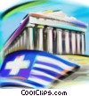 Stock Art image  of a Greek flag with Parthenon