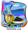 Greek olives and olive oil Fine Art illustration