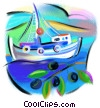 Fine Art graphic  of a Greek fishing boat