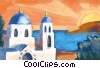 Greek architecture with sunset Fine Art illustration