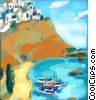 Stock Art picture  of a Greek seaside village with