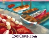 Fine Art graphic  of a Greek fishing boats