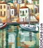 Greek village with boat clipart