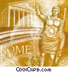 Roman Caesar with Roman architecture Fine Art illustration