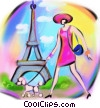 woman walking her dog past the Eiffel Tower Fine Art illustration