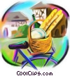 Fine Art graphic  of a bicycle in Pars filled with groceries