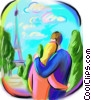 couple enjoying the view of the Eiffel Tower Fine Art illustration
