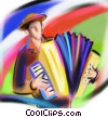 man playing the accordion Fine Art illustration