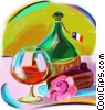 Italian wine bottle with Glass Stock Art picture