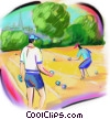 Stock Art image  of a men playing bocce ball